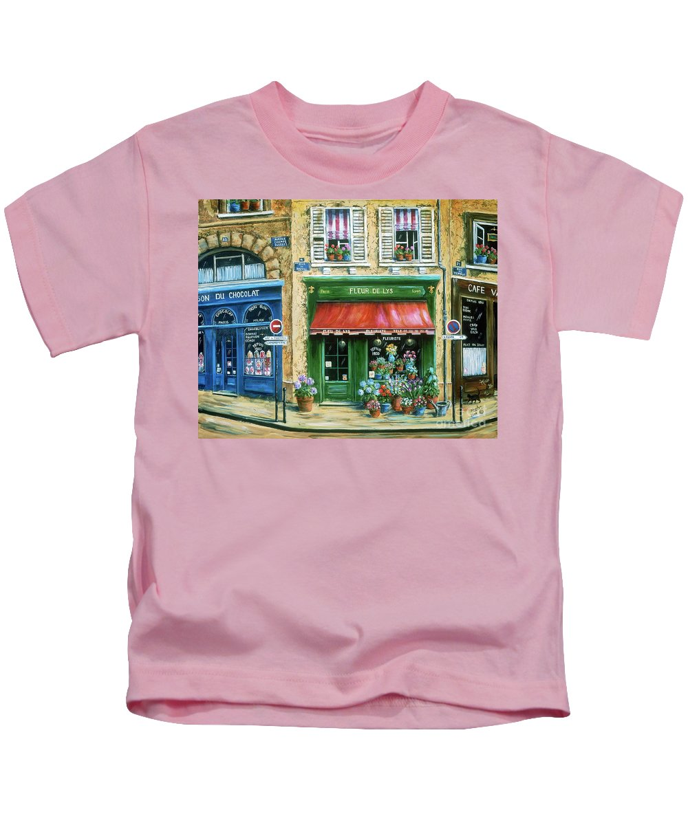 Europe Kids T-Shirt featuring the painting Le Fleuriste by Marilyn Dunlap