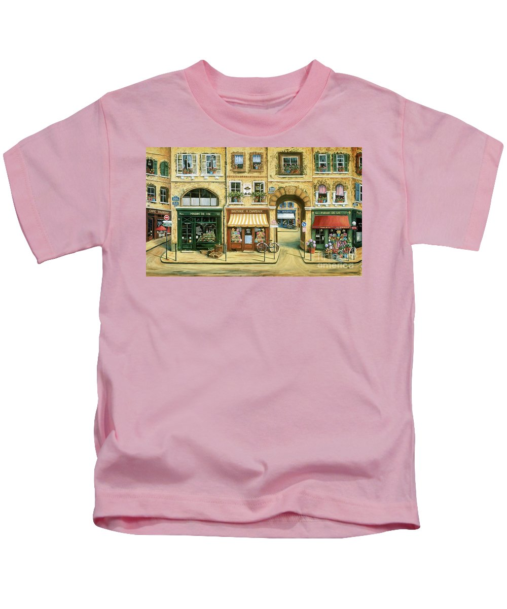 Wine Shop Kids T-Shirt featuring the painting Les Rues De Paris by Marilyn Dunlap