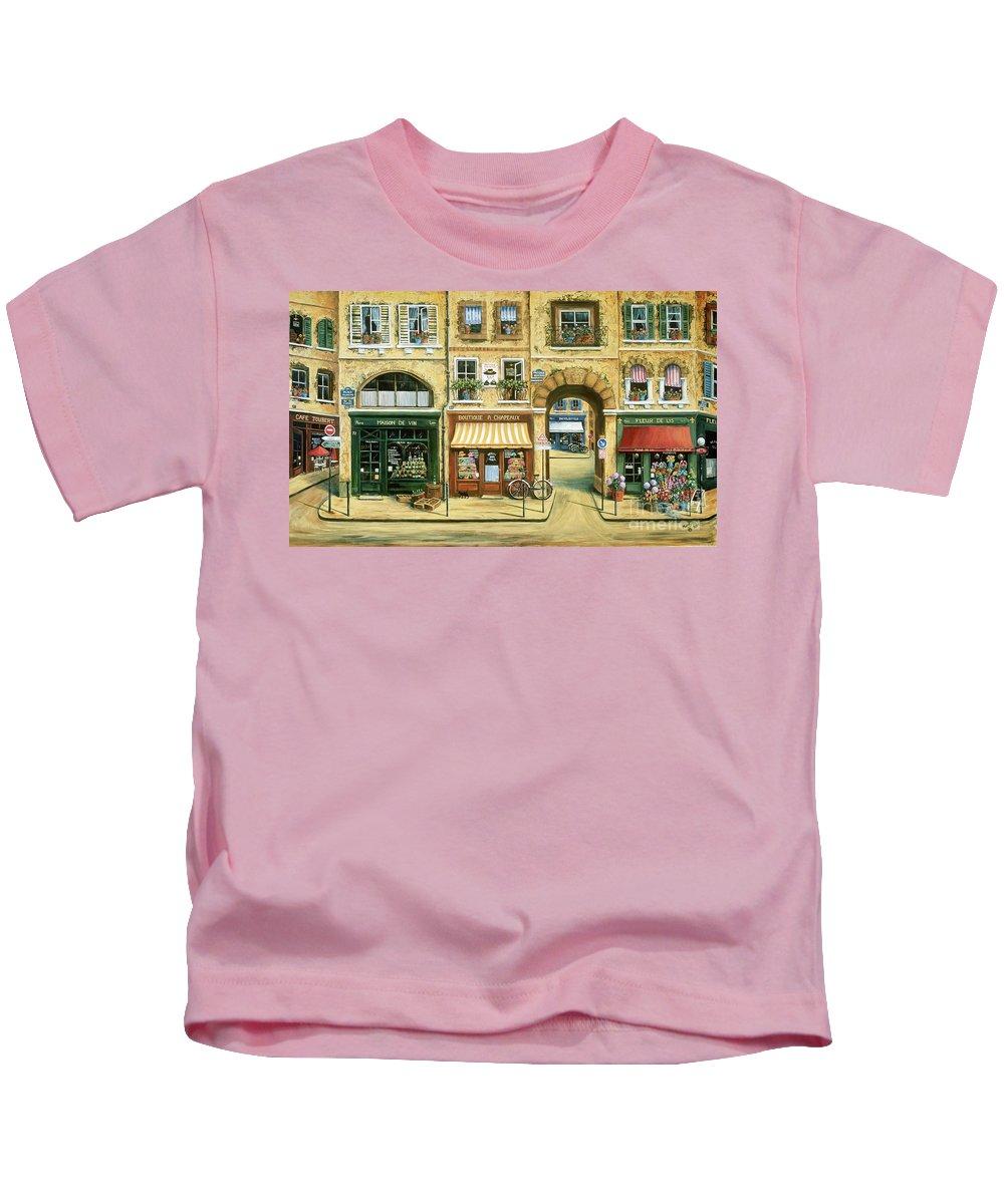 Wine Shop Kids T-Shirt featuring the painting Les Rues De Paris by Marilyn Dunlap