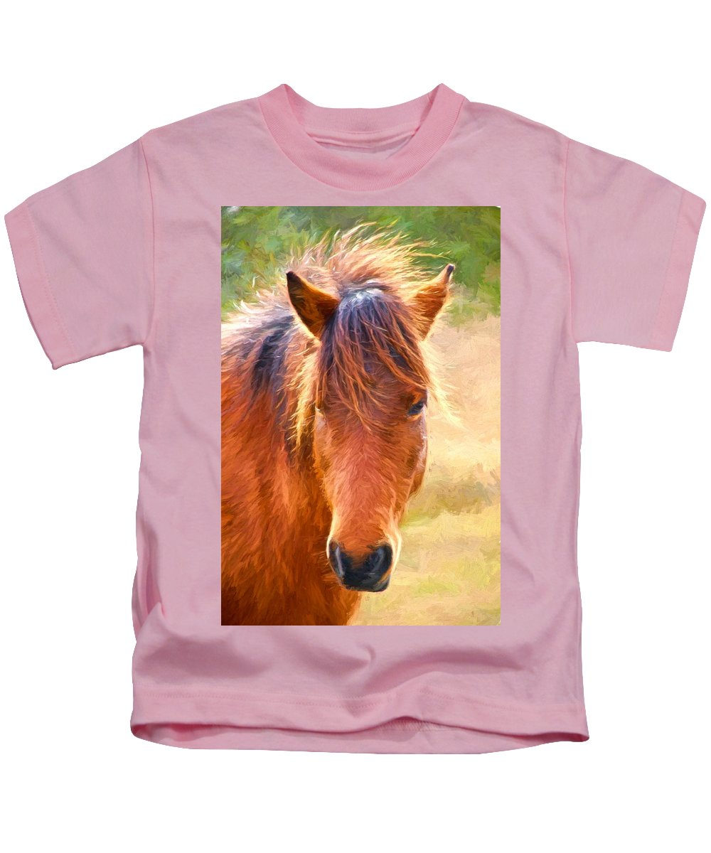 Bay Pony Kids T-Shirt featuring the photograph Little Bay by Alice Gipson