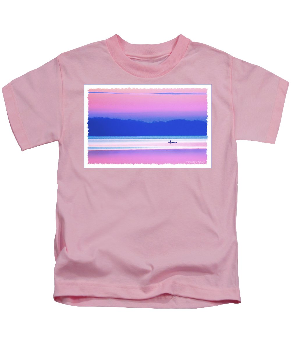 Lone Fisherman Pastel Kids T-Shirt featuring the photograph Lonefisherman Watersoft Smooth by Randall Branham