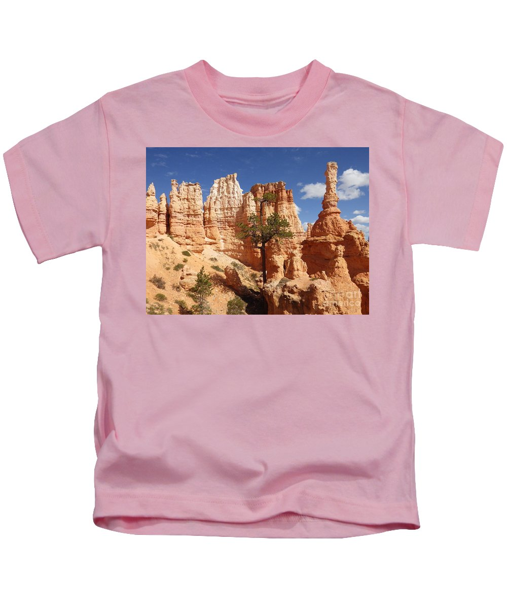 Bryce Canyon Kids T-Shirt featuring the photograph Lonely Trees by Tonya Hance