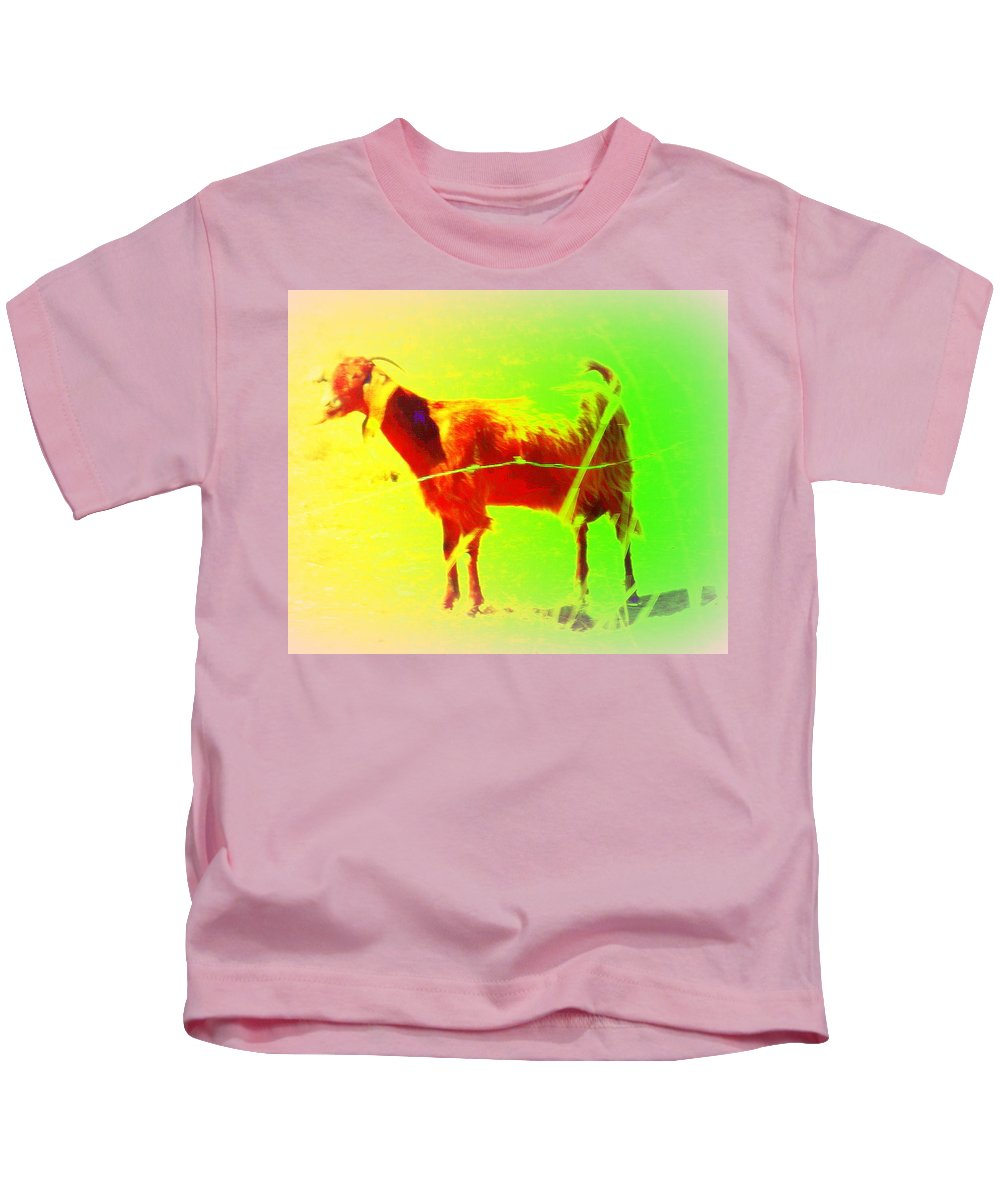 Goat Kids T-Shirt featuring the photograph Looks Like A Goat And Walks Like A Goat  by Hilde Widerberg