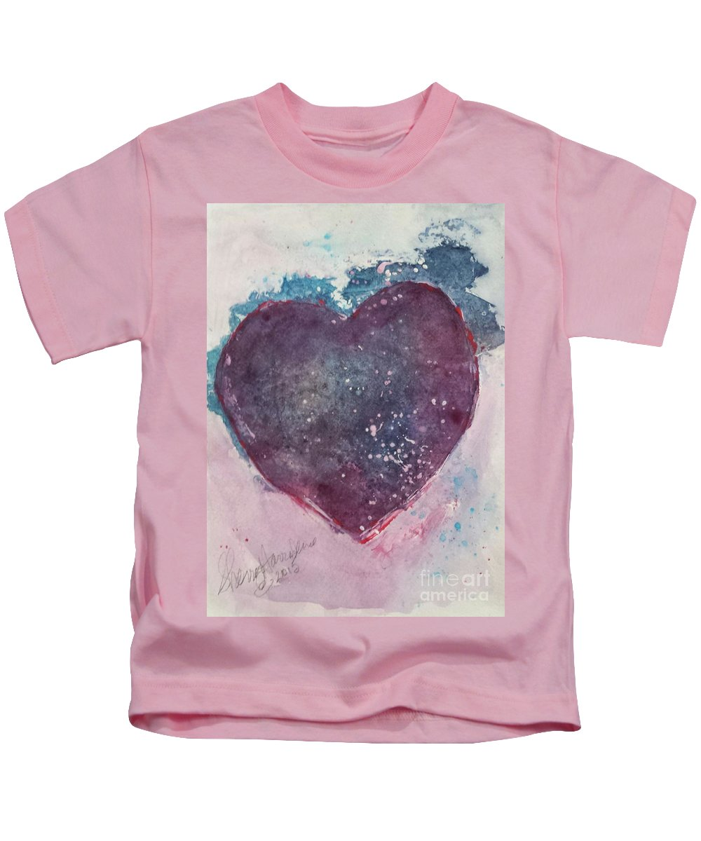 Heart Kids T-Shirt featuring the painting Magenta Heart by Sherry Harradence