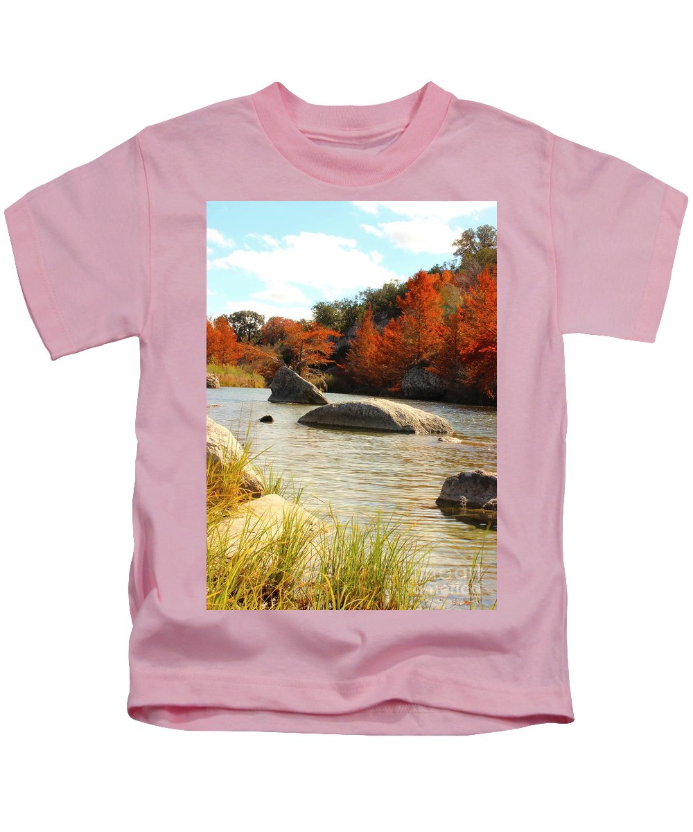 Michael Tidwell Photography Kids T-Shirt featuring the photograph Fall Cypress At Bandera Falls On The Medina River by Michael Tidwell