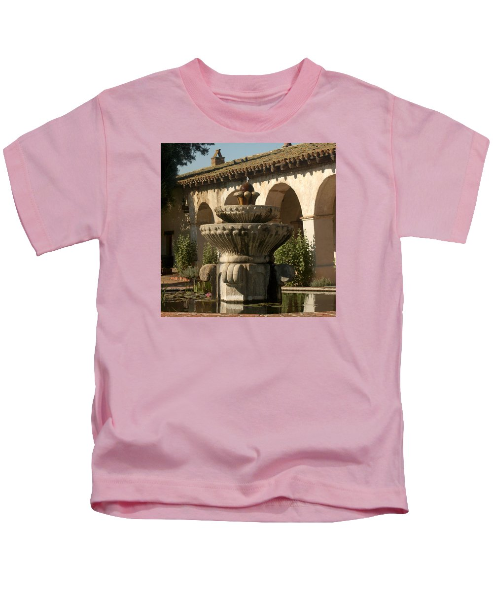 Mission San Miguel Kids T-Shirt featuring the photograph Mission Fountain by Art Block Collections