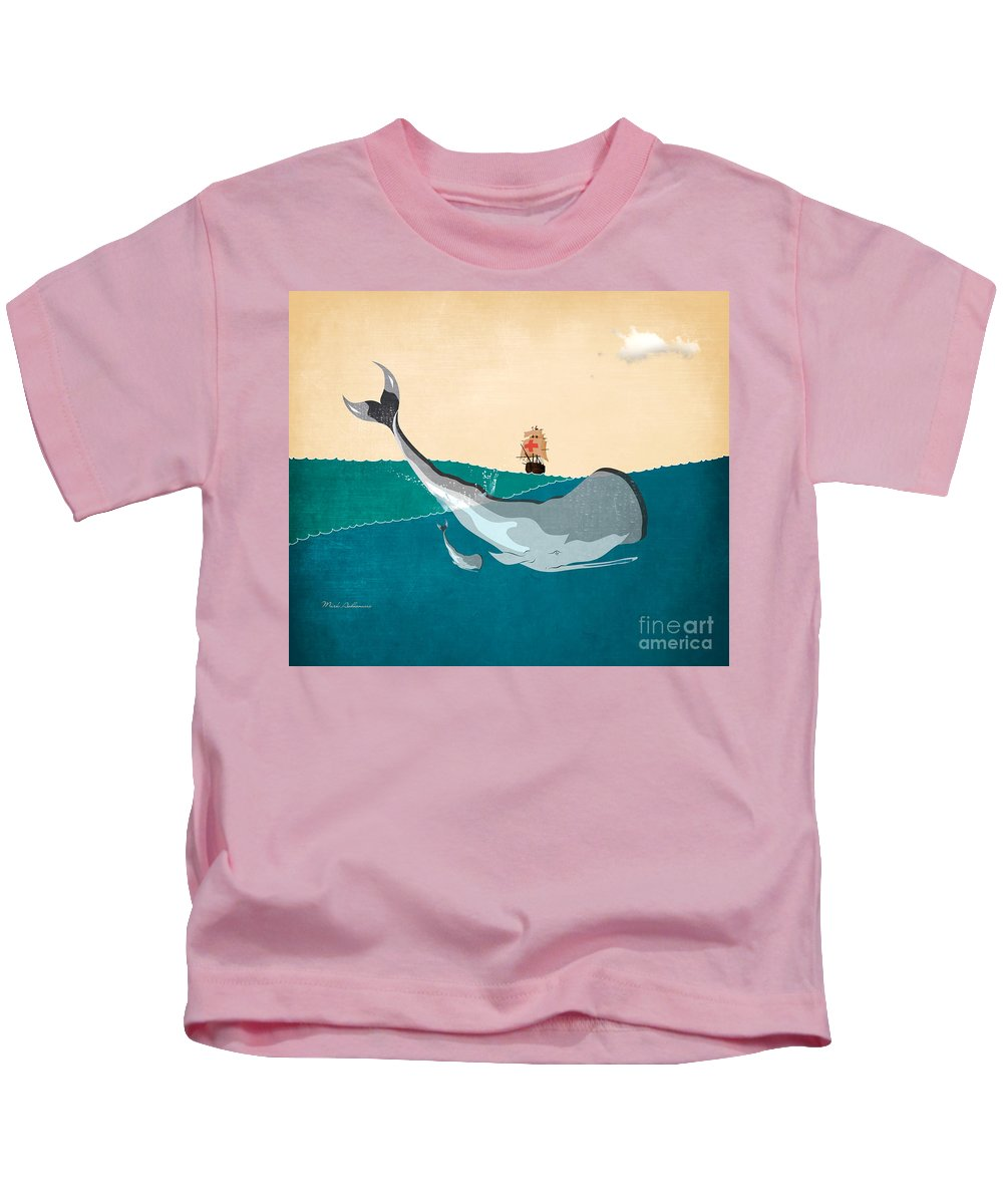 Moby Dick Kids T-Shirt featuring the digital art Moby by Mark Ashkenazi