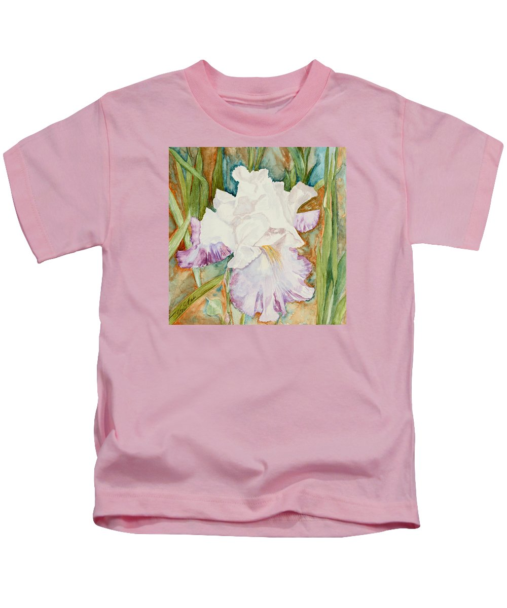 Iris Kids T-Shirt featuring the painting Mom's Iris by Mary Benke