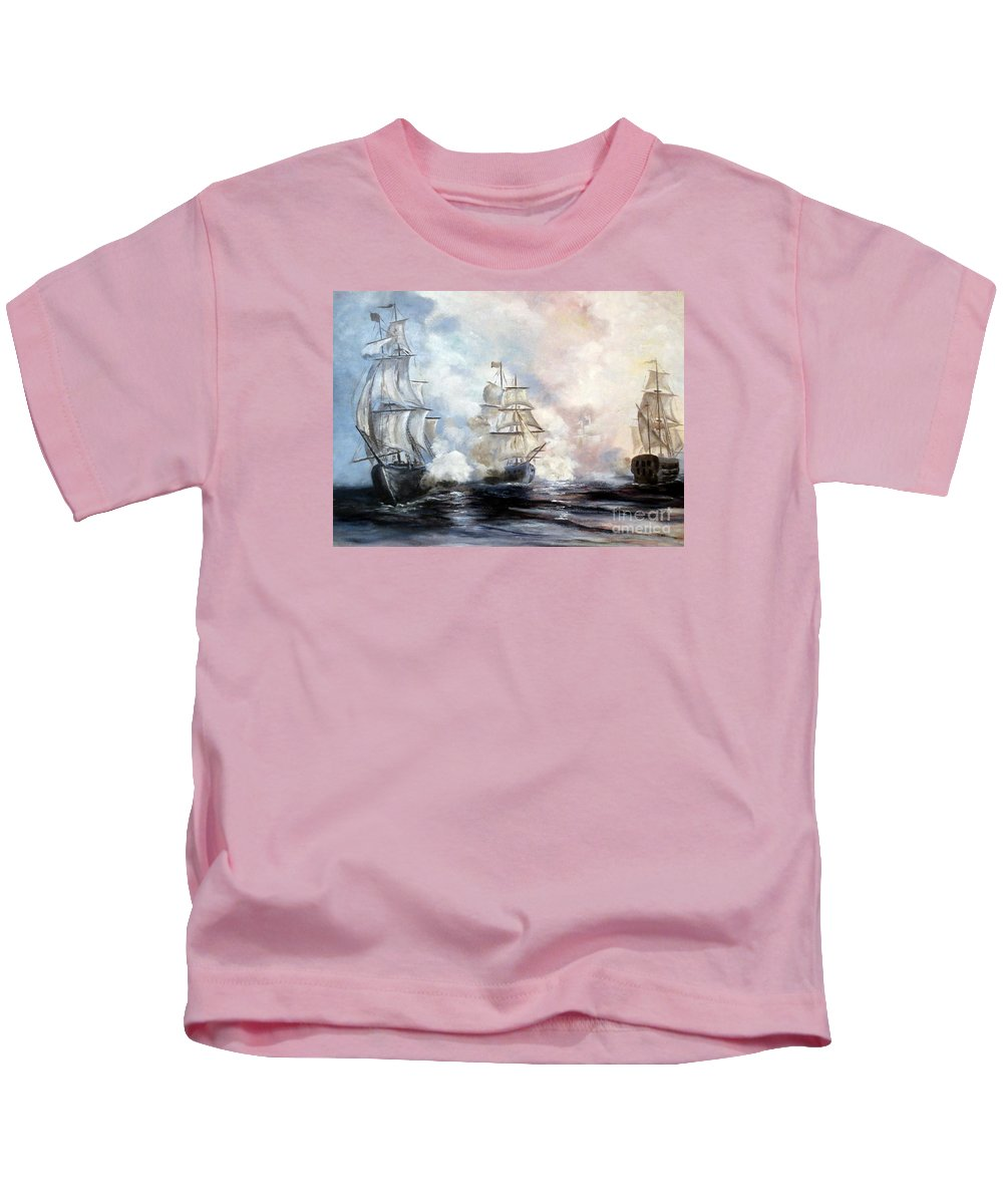Sailing Ships Kids T-Shirt featuring the painting Morning Battle by Lee Piper