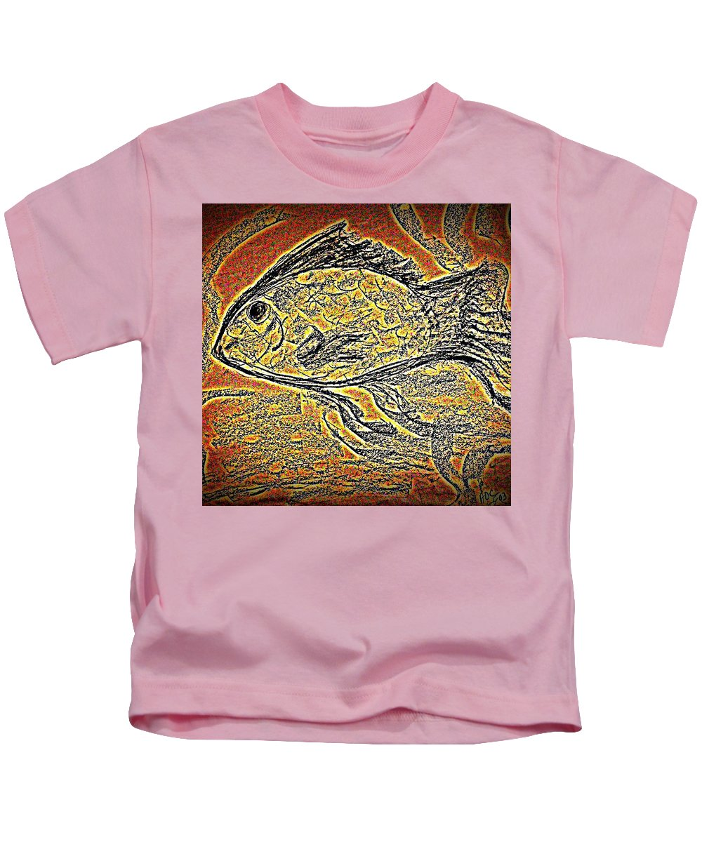 Charcoal Kids T-Shirt featuring the digital art Mosaic Goldfish In Charcoal by Antonia Citrino
