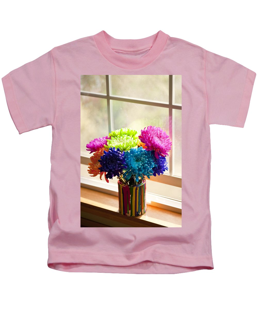 Art Kids T-Shirt featuring the photograph Multicolored Chrysanthemums In Paint Can On Window Sill by Jim Corwin