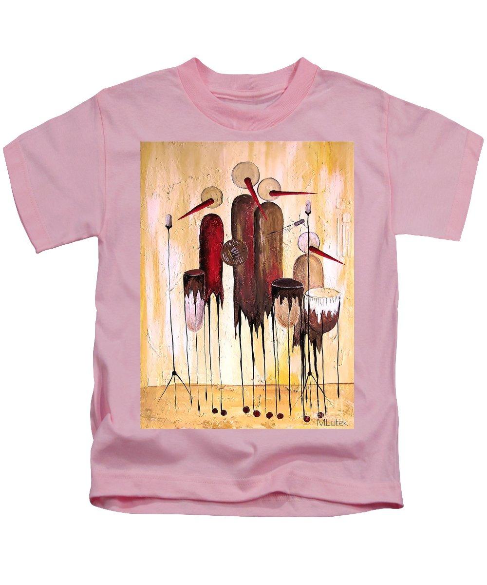 Graphic Kids T-Shirt featuring the painting Music 740 - Marucii by Marek Lutek