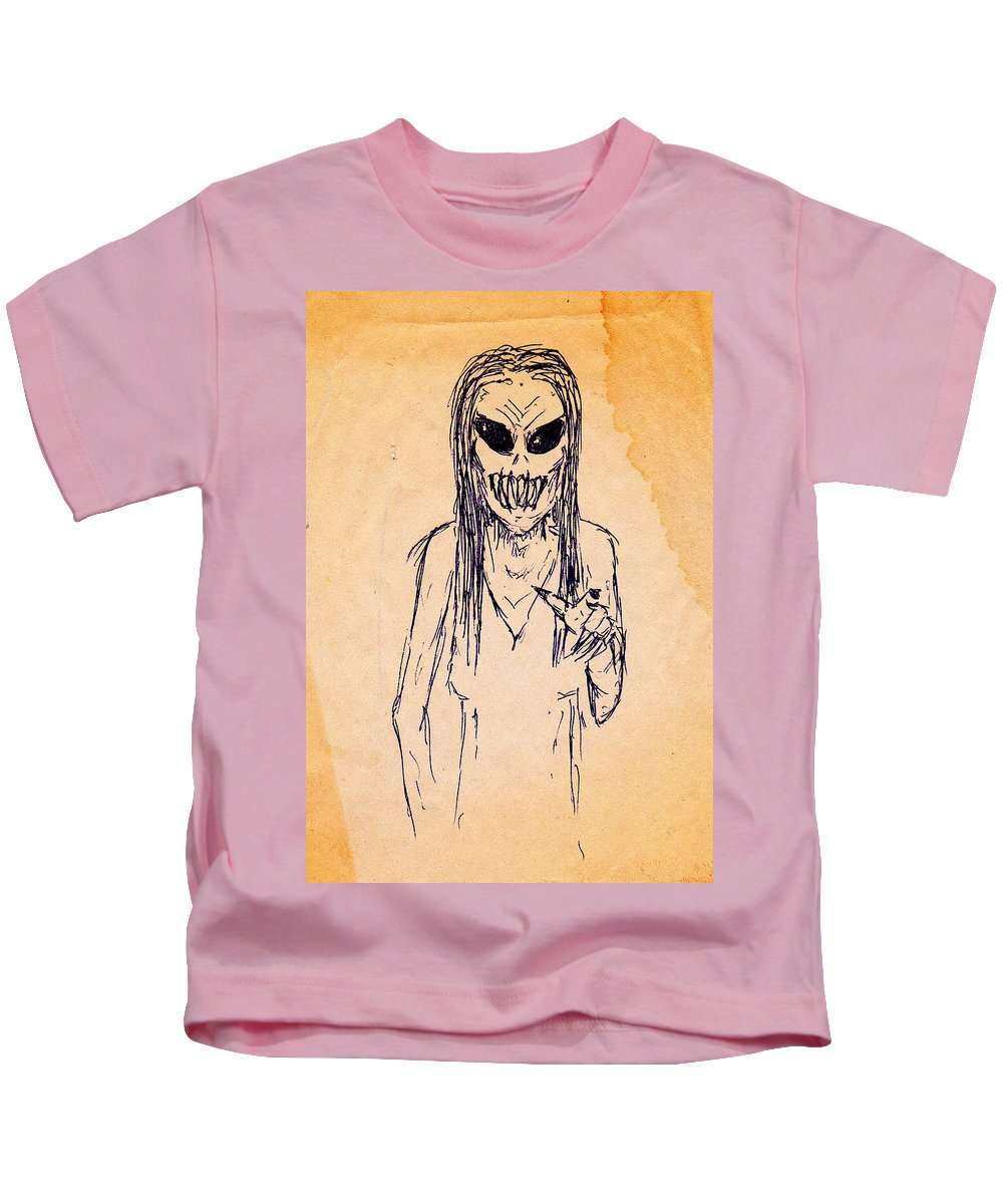 Teeth Hag Zombie Dead Monster Nightmare Kids T-Shirt featuring the drawing Nightmare Sketch by Guy Pettingell