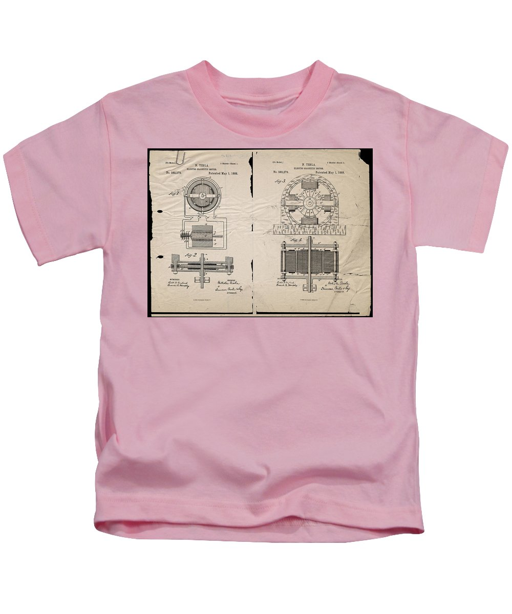 Wright Kids T-Shirt featuring the digital art Nikola Tesla's Magnetic Motor Patent 1888 by Paulette B Wright