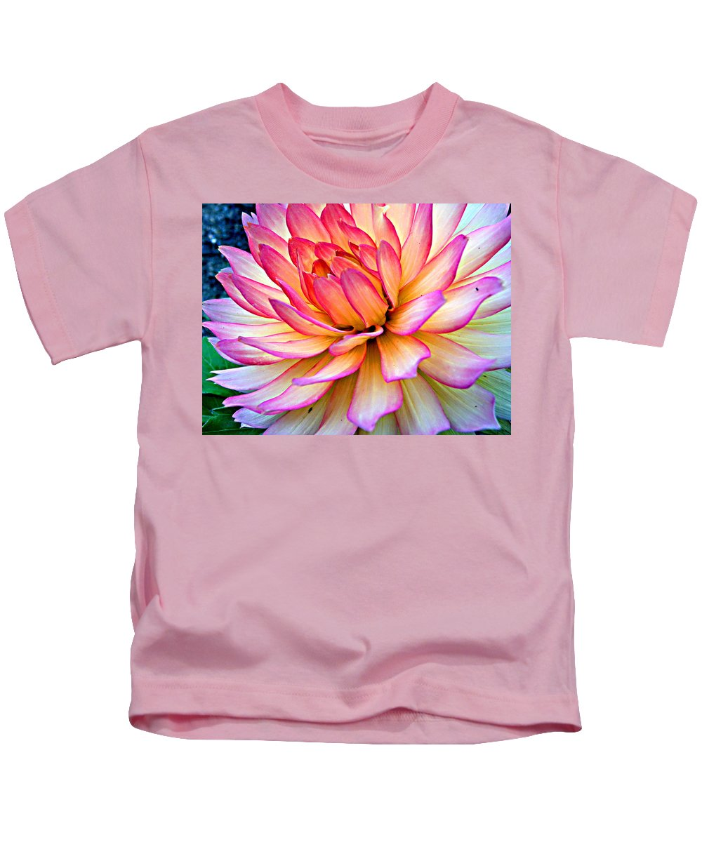 Pink Flower Kids T-Shirt featuring the photograph On The Dahlia Side by Tanya Hamell