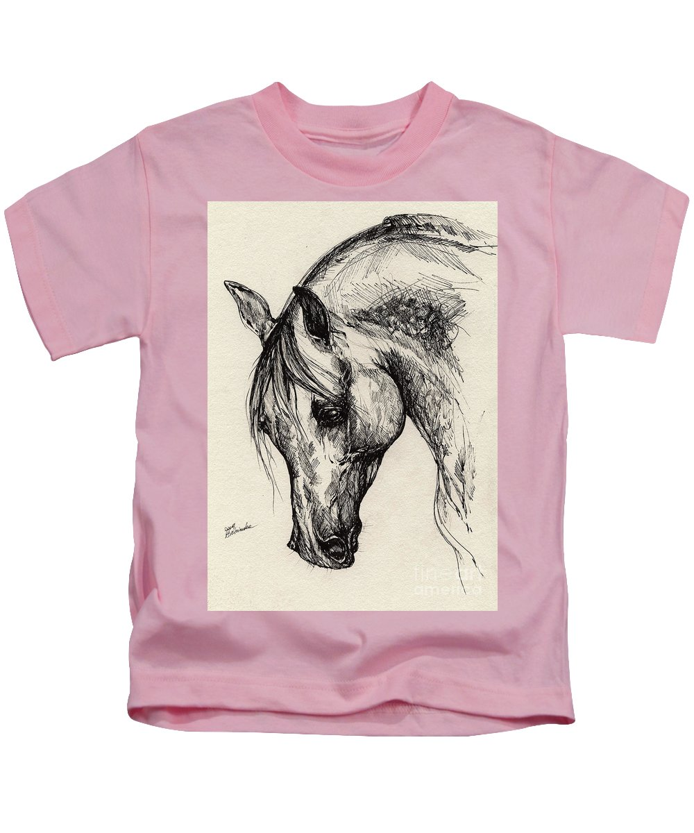 Polis Kids T-Shirt featuring the drawing Ostragon by Angel Ciesniarska