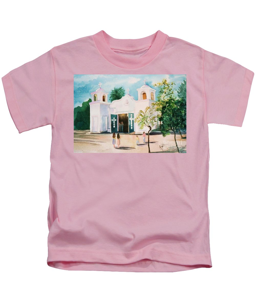 Mission Church Kids T-Shirt featuring the painting Our Lady Of Guadalupe by Marilyn Smith