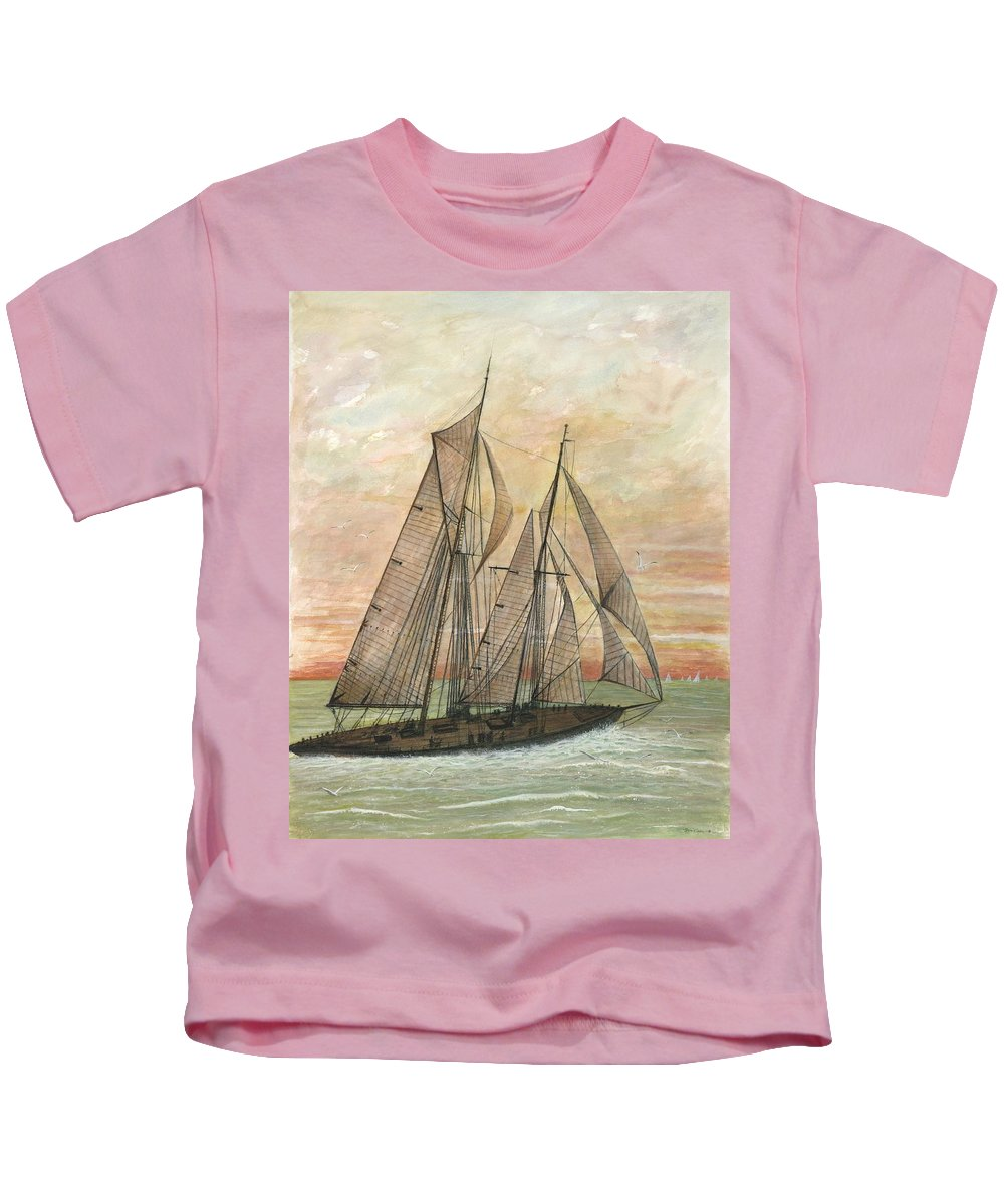 Sailboat; Ocean; Sunset Kids T-Shirt featuring the painting Out To Sea by Ben Kiger