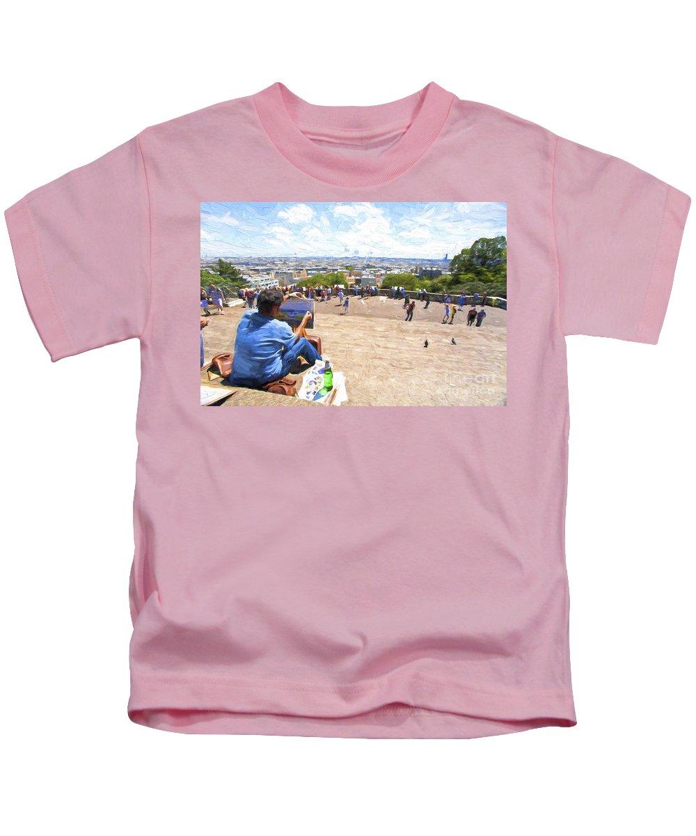 Painter Kids T-Shirt featuring the photograph Painter at Montmartre in Paris by Sheila Smart Fine Art Photography