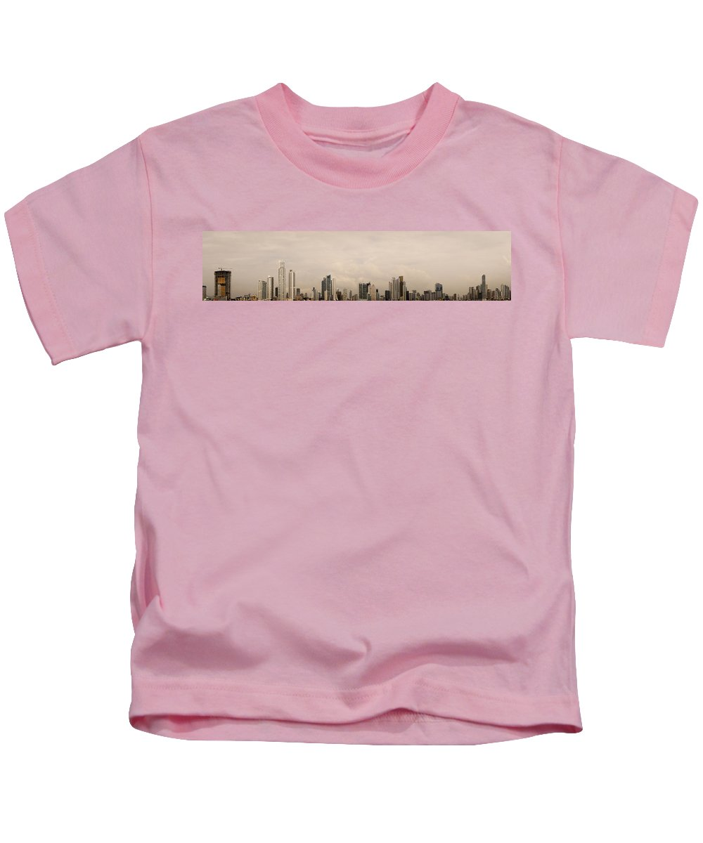 Panama City Kids T-Shirt featuring the photograph Panama City Skyline by Helix Games Photography