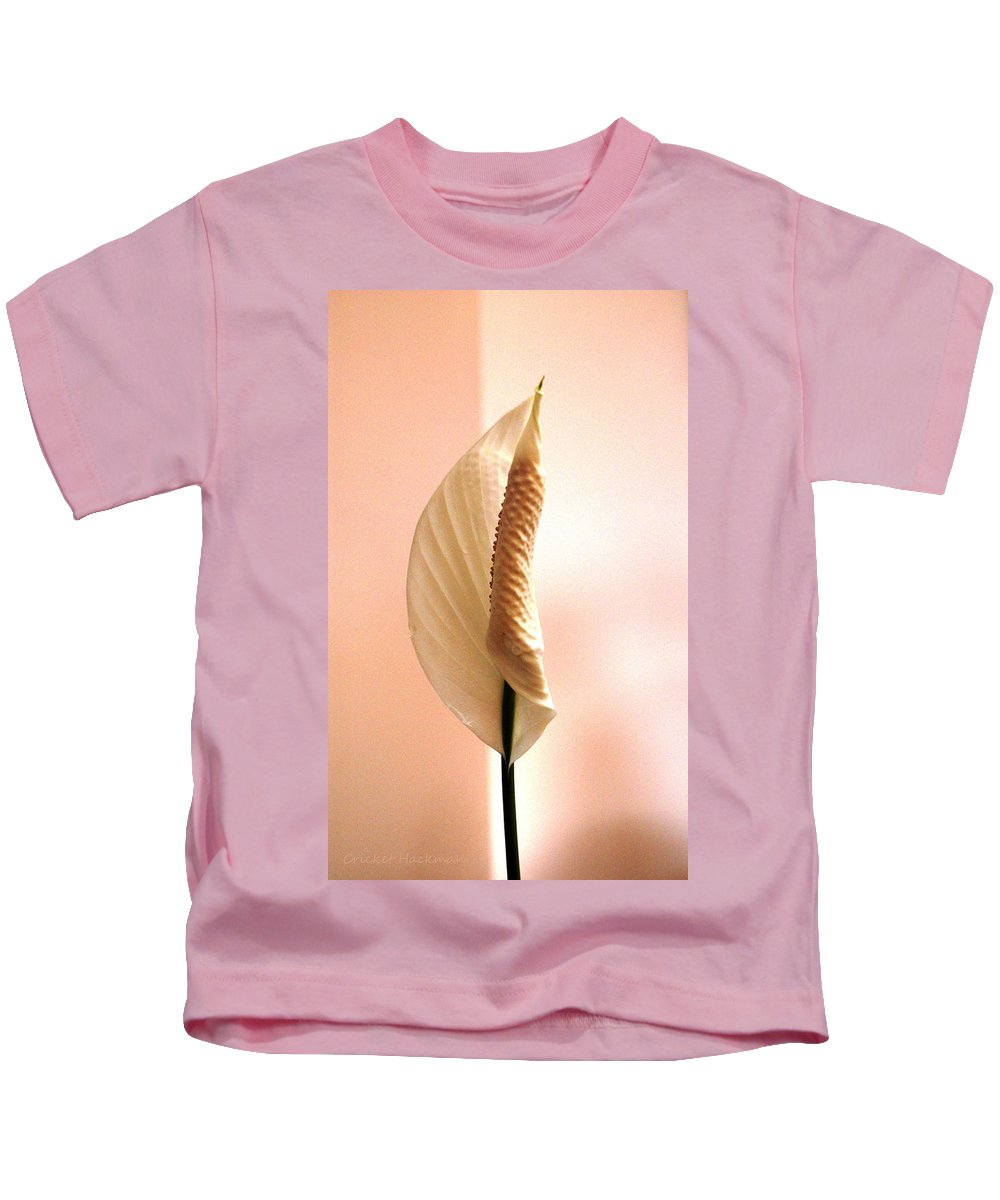 Peace Lily Kids T-Shirt featuring the photograph Peace Lily Awakening by Cricket Hackmann