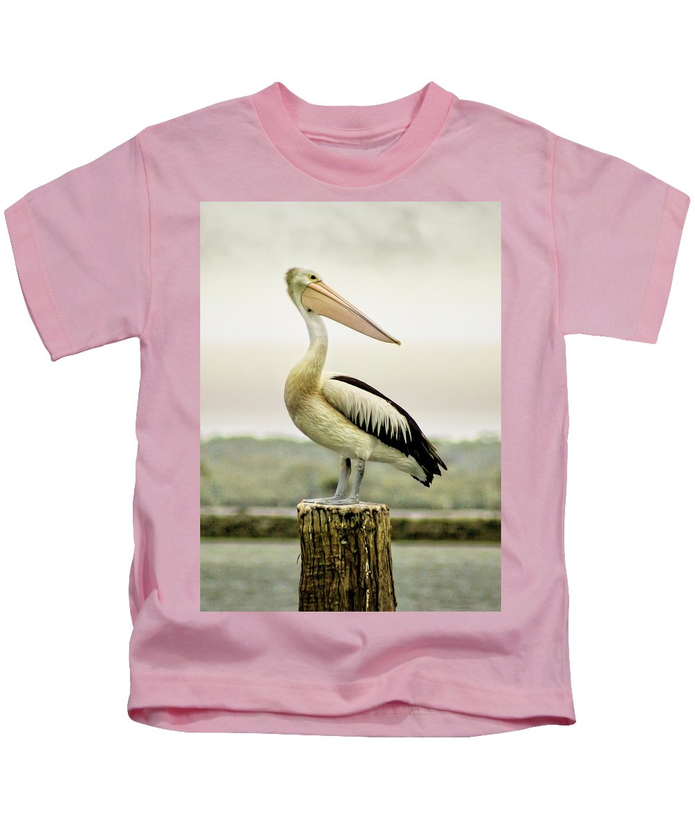 Animlas Kids T-Shirt featuring the photograph Pelican Poise by Holly Kempe