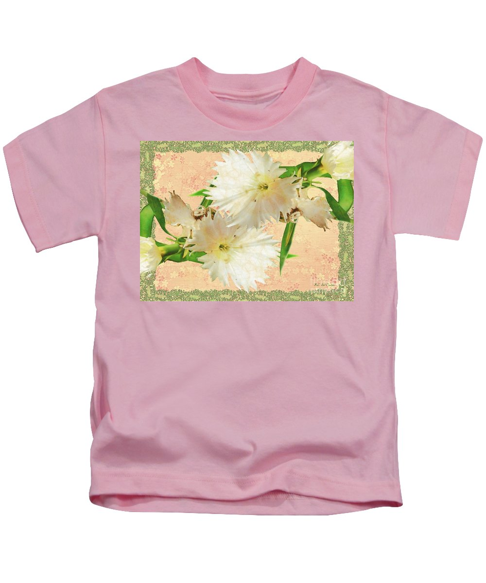 Decoupage Kids T-Shirt featuring the painting Penny Postcard Cheerful by RC DeWinter