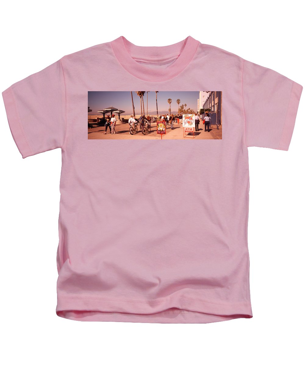 Photography Kids T-Shirt featuring the photograph People Walking On The Sidewalk, Venice by Panoramic Images