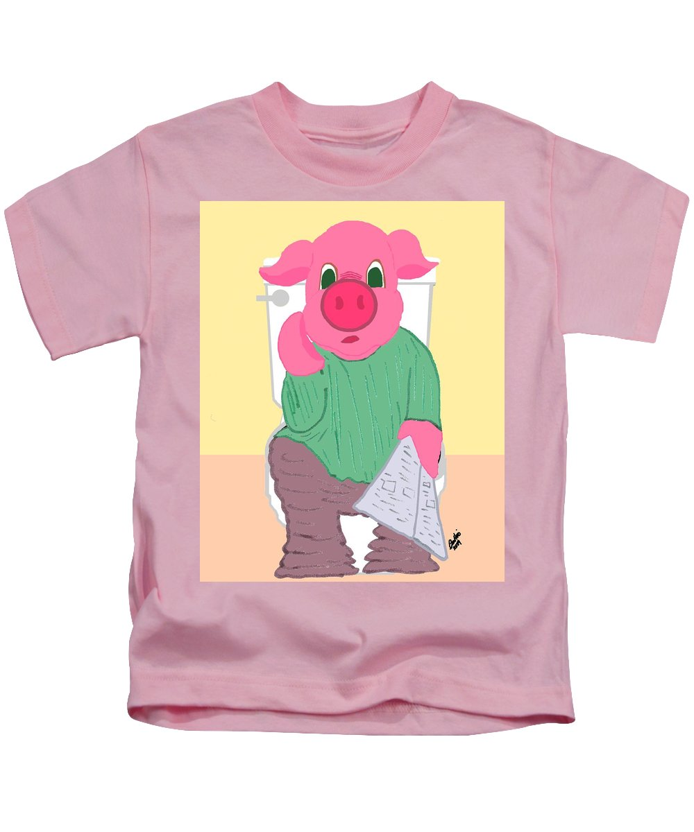 Pig Kids T-Shirt featuring the drawing Pig On The Hopper by Pharris Art