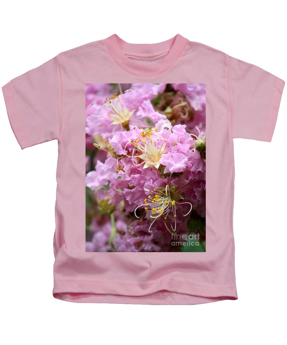 Lagerstroemia Kids T-Shirt featuring the photograph Pink Crepe Myrtle Closeup by Carol Groenen