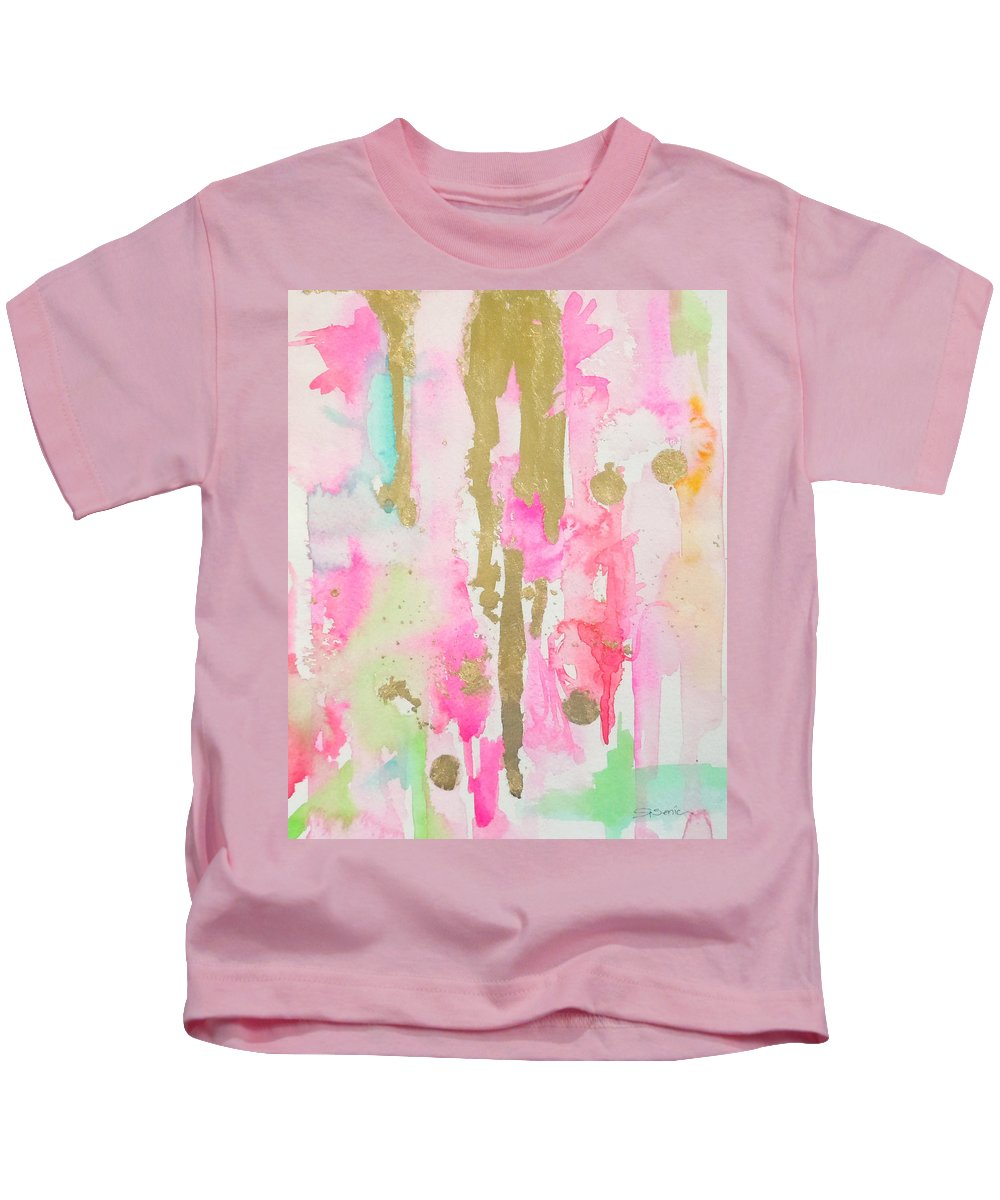 Abstract Painting Kids T-Shirt featuring the painting Pink N Glam by Roleen Senic