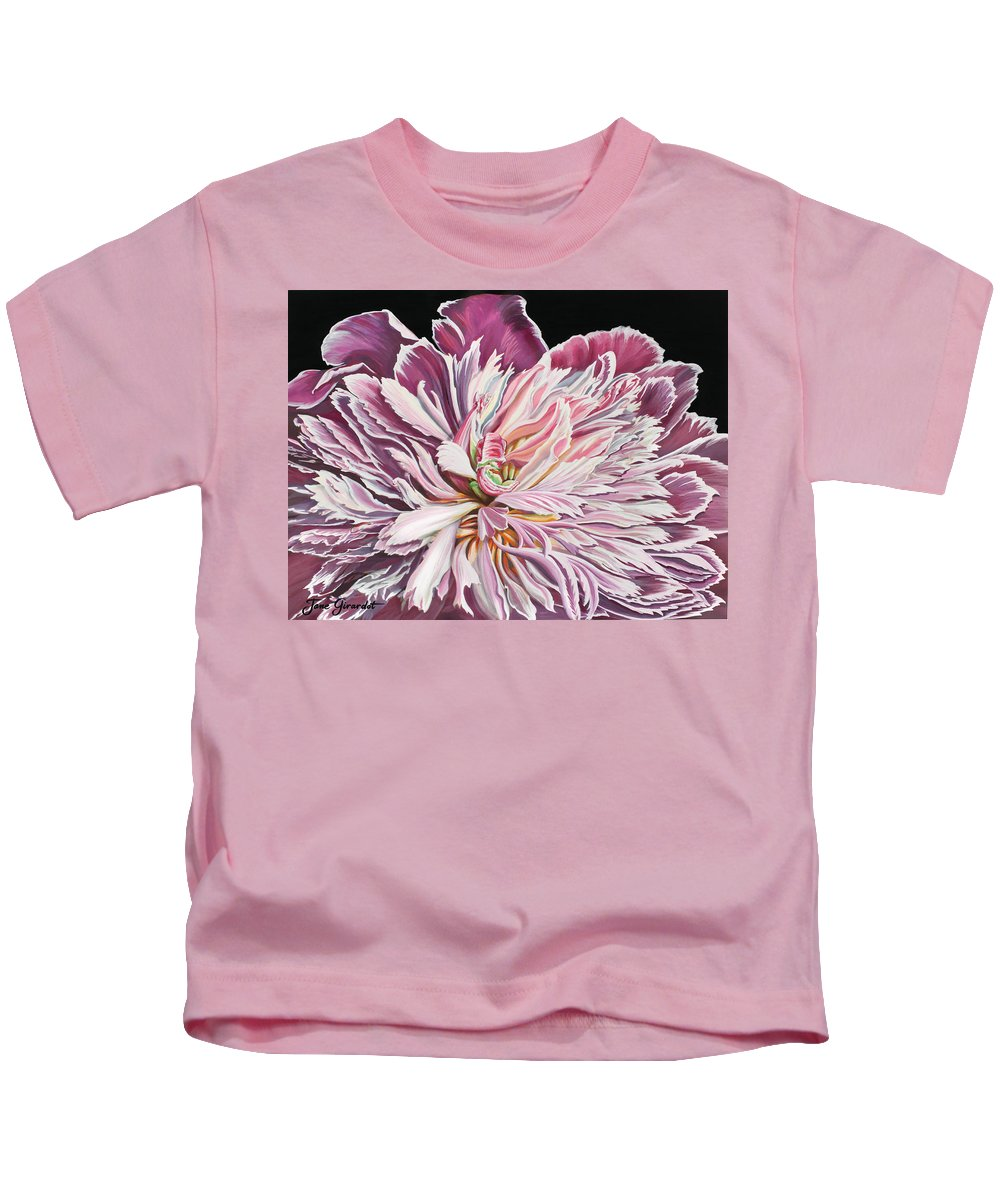 Flower Kids T-Shirt featuring the painting Pink Peony by Jane Girardot