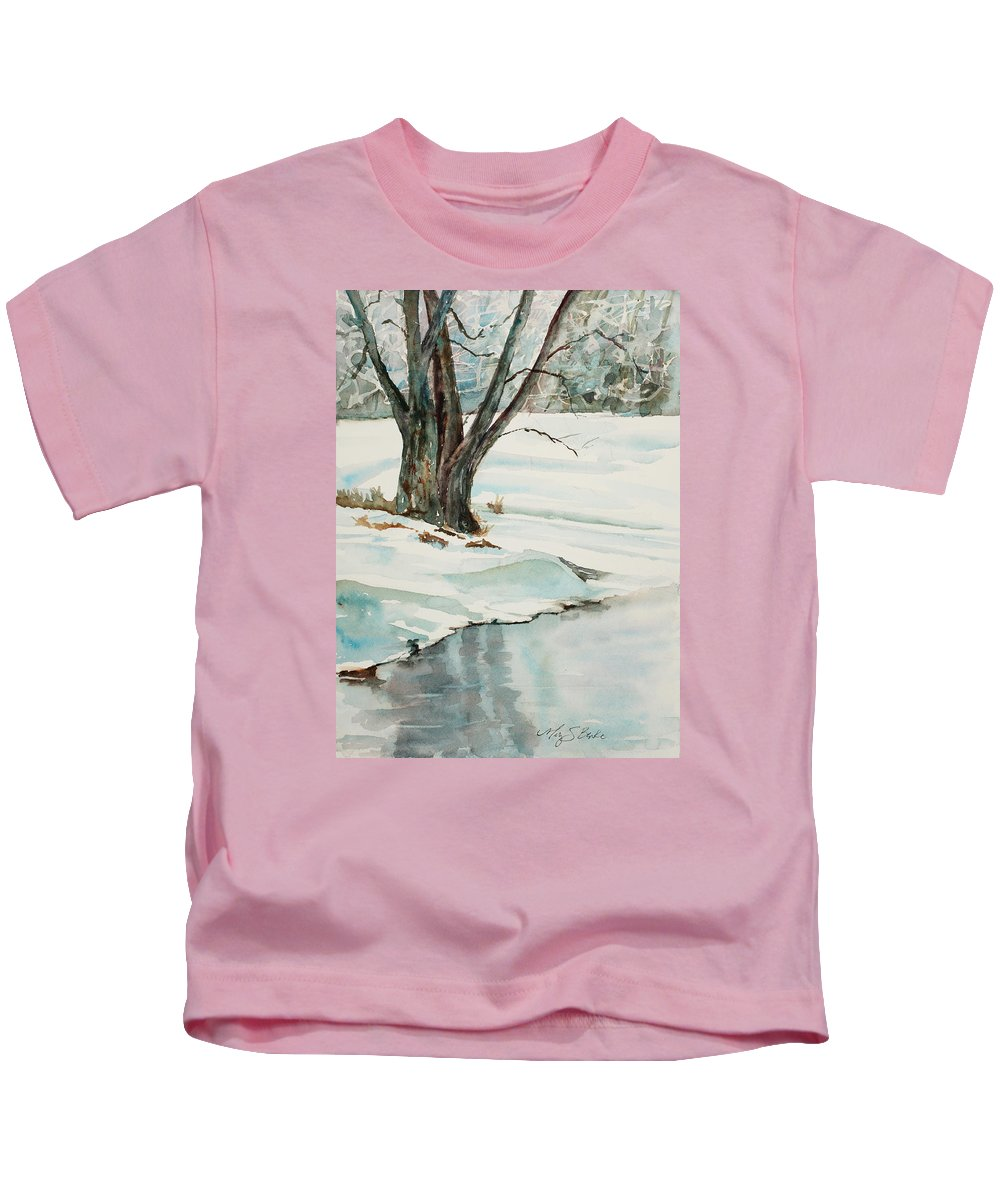 Snow Kids T-Shirt featuring the painting Placid Winter Morning by Mary Benke