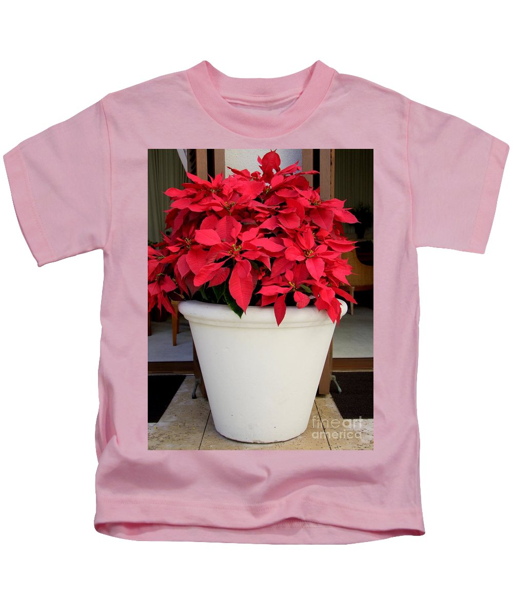 Poinsettia Kids T-Shirt featuring the photograph Poinsettias In A Planter by Mary Deal