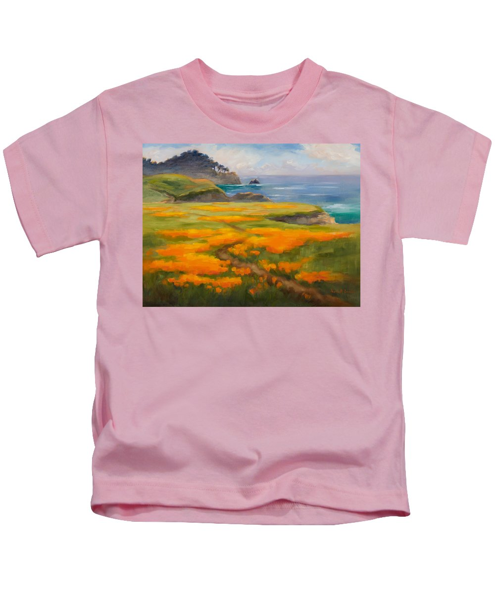 Point Lobos Kids T-Shirt featuring the photograph Point Lobos Poppies by Karin Leonard