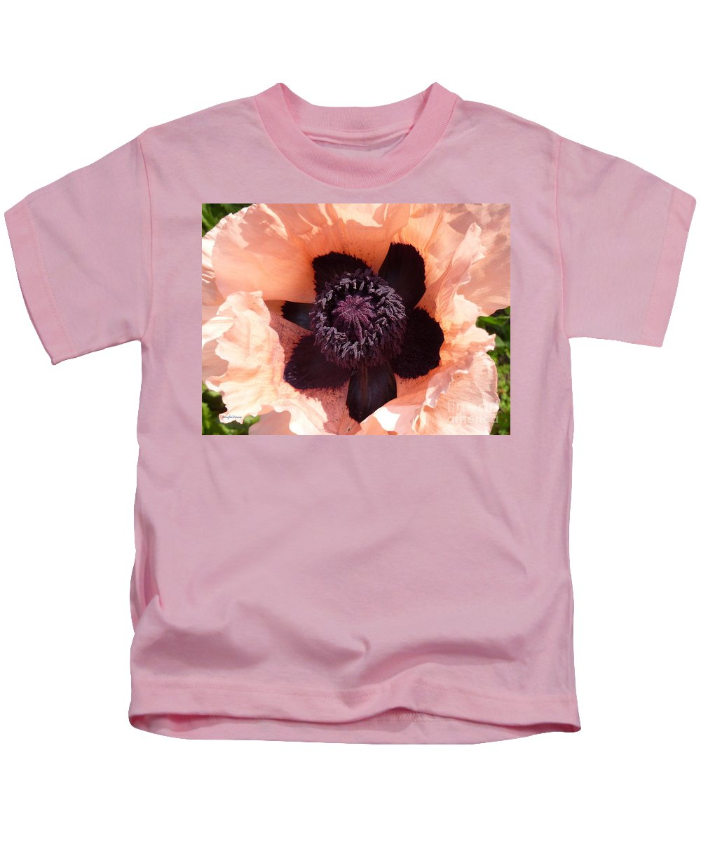 Flower Photography Kids T-Shirt featuring the photograph Princess Victoria Louise Poppy by Lingfai Leung