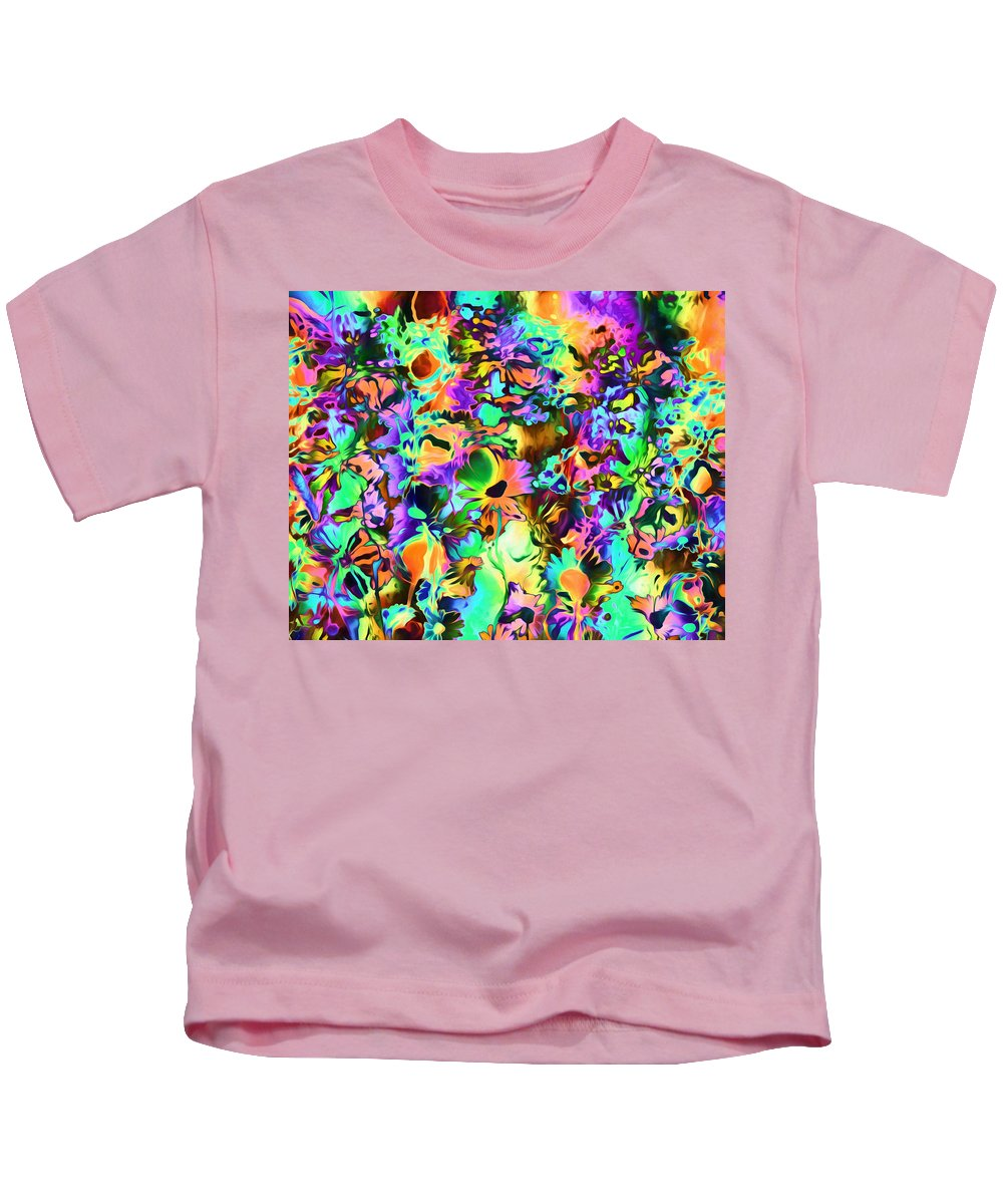 Romanovna Graphic Design Kids T-Shirt featuring the mixed media Psychadelic Dreams by Georgiana Romanovna