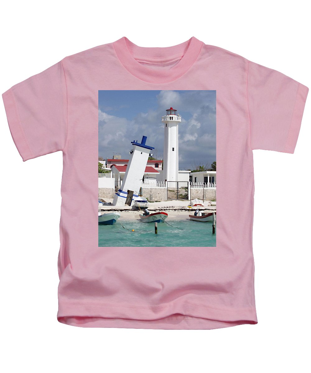 Puerto Morelos Lighthouse Kids T-Shirt featuring the photograph Puerto Morelos Lighthouse by Ellen Henneke