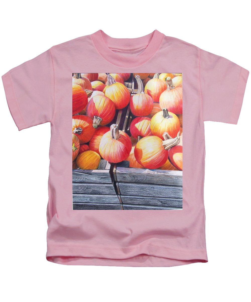 Pumpkins Kids T-Shirt featuring the painting Pumpkins by Constance Drescher