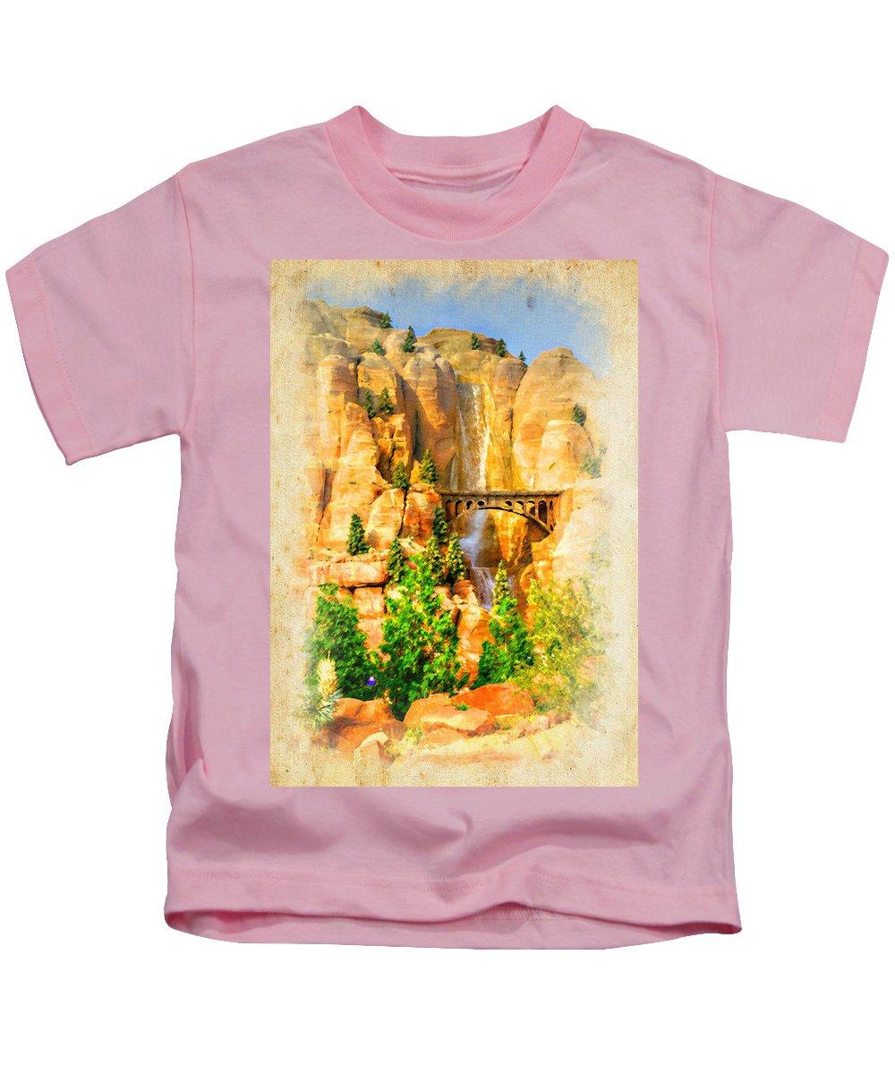 Radiator Kids T-Shirt featuring the photograph Radiator Springs Waterfall by Ricky Barnard