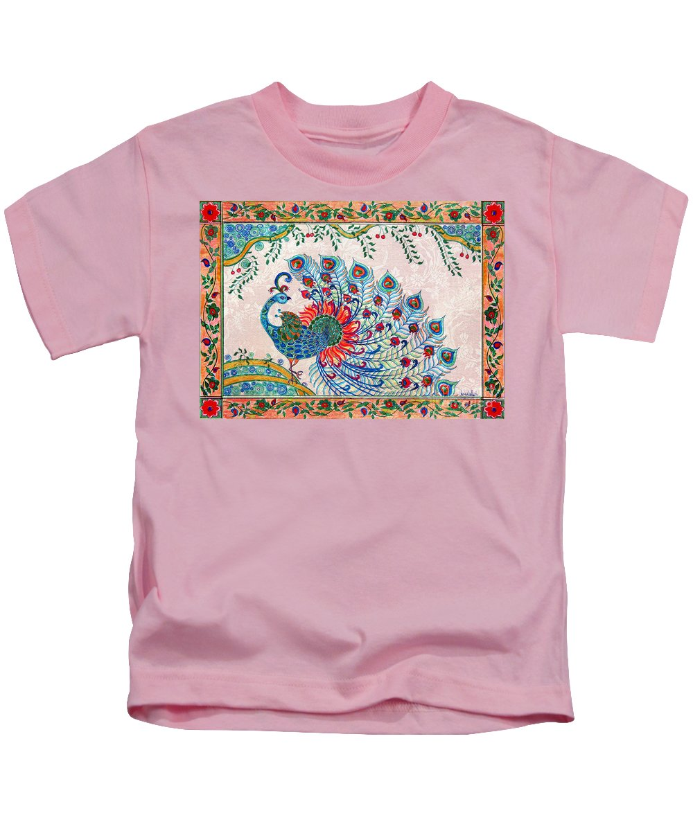 Kids T-Shirt featuring the painting Rainbow Feathers by Anjali Vaidya