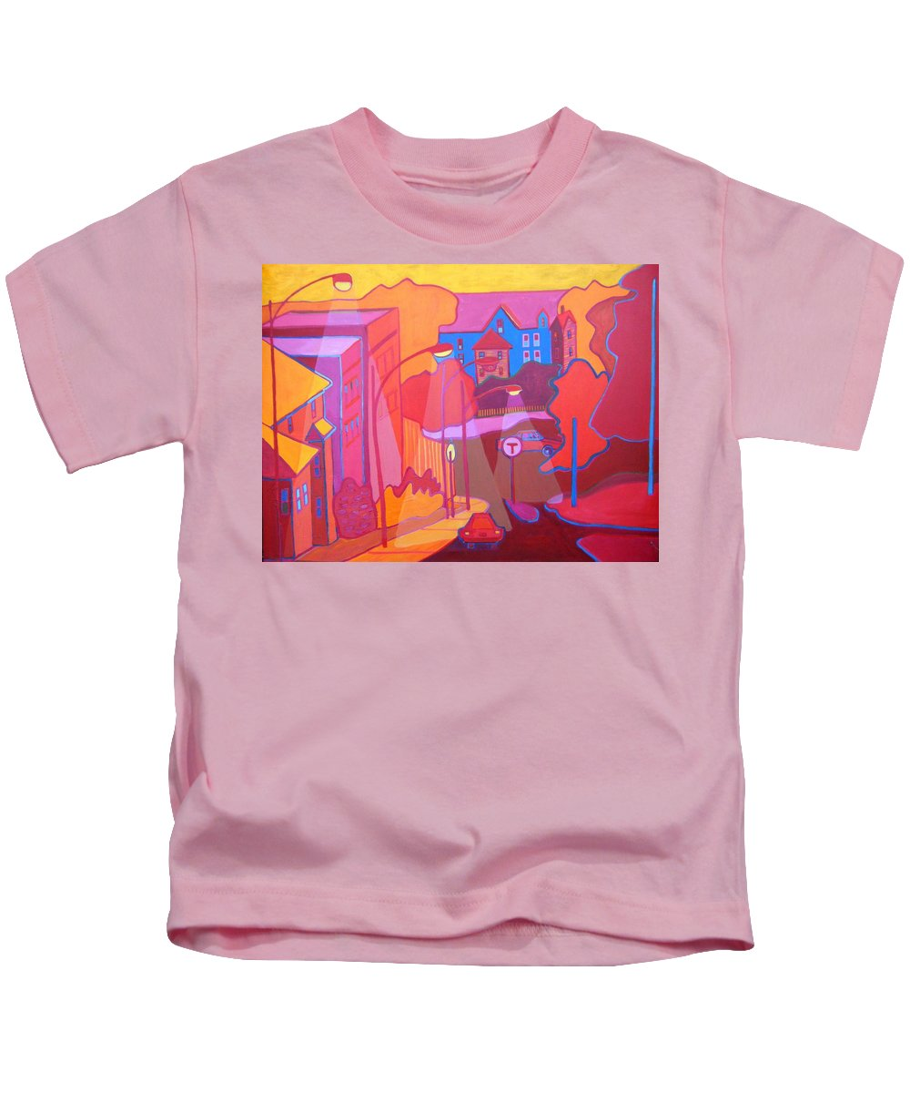 Cityscape Kids T-Shirt featuring the painting Roslindale Never Looked so Red by Debra Bretton Robinson