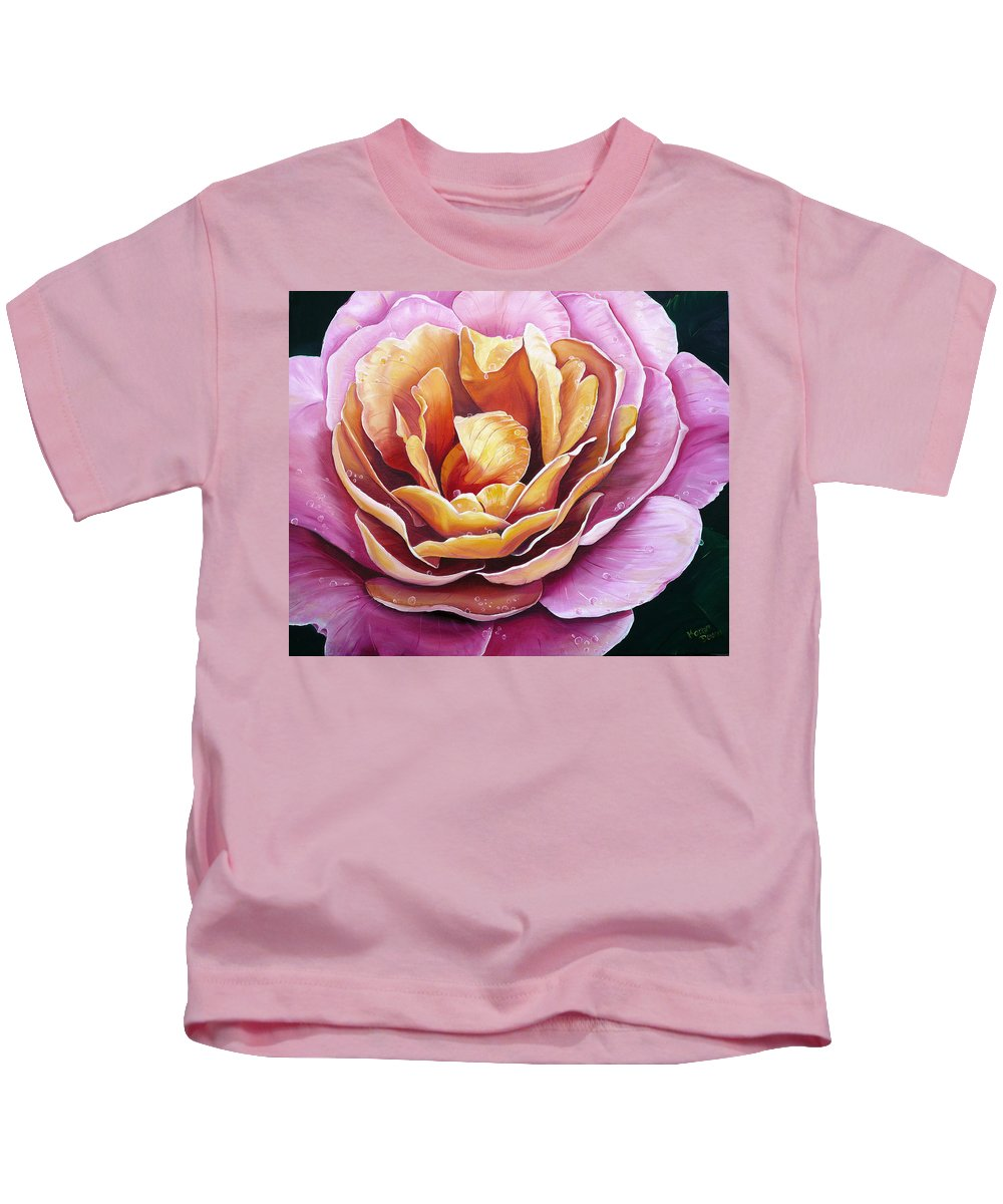 Rose Painting Pink Yellow Floral Painting Flower Bloom Botanical Painting Botanical Painting Kids T-Shirt featuring the painting Rosy Dew by Karin Dawn Kelshall- Best