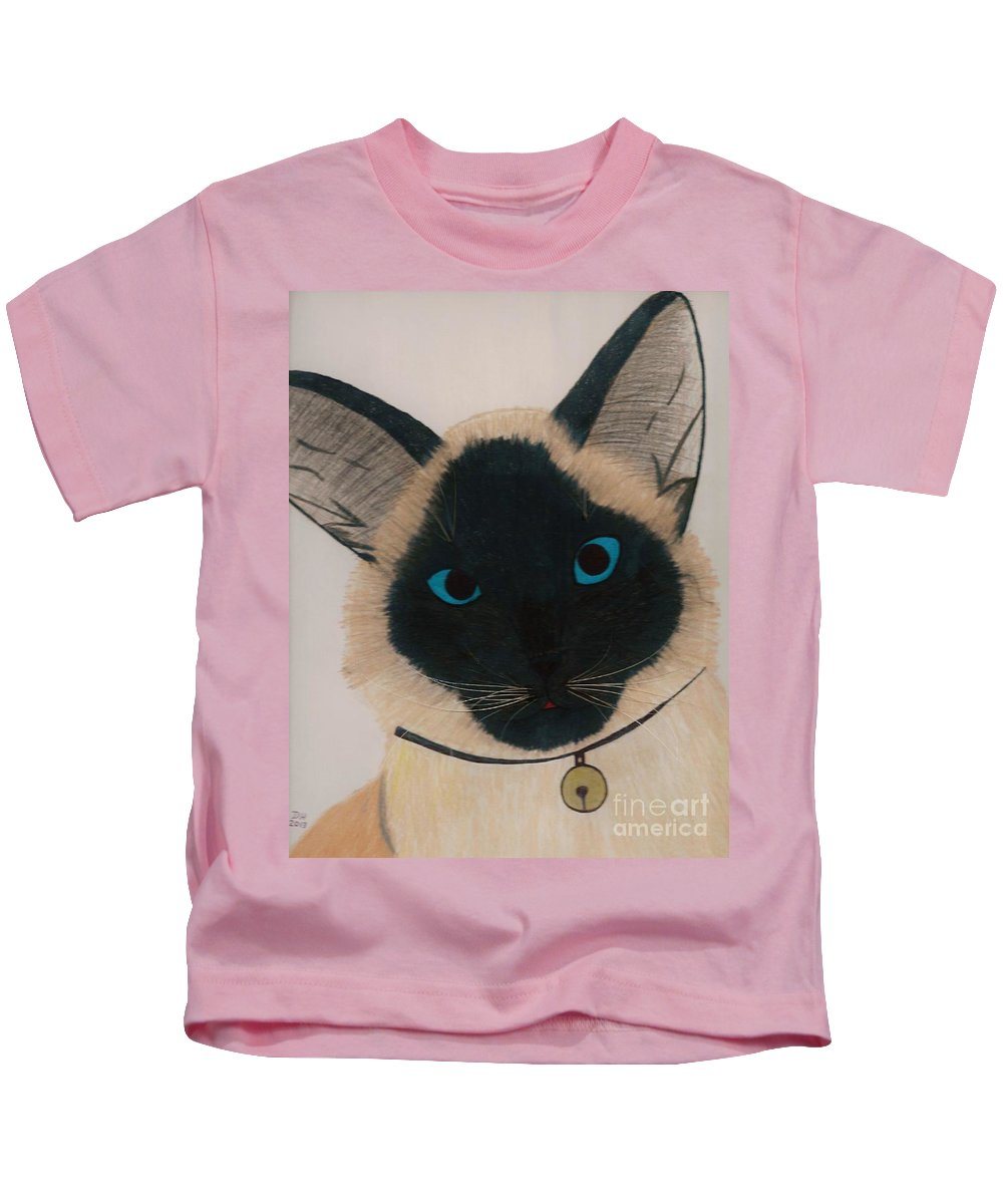 Cat Kids T-Shirt featuring the drawing Sable by D Hackett