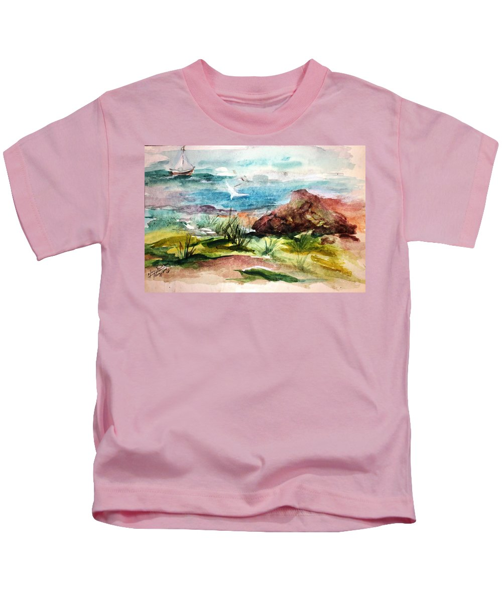Sailing Kids T-Shirt featuring the painting Sailing Towards Anywhere by Mary Spyridon Thompson