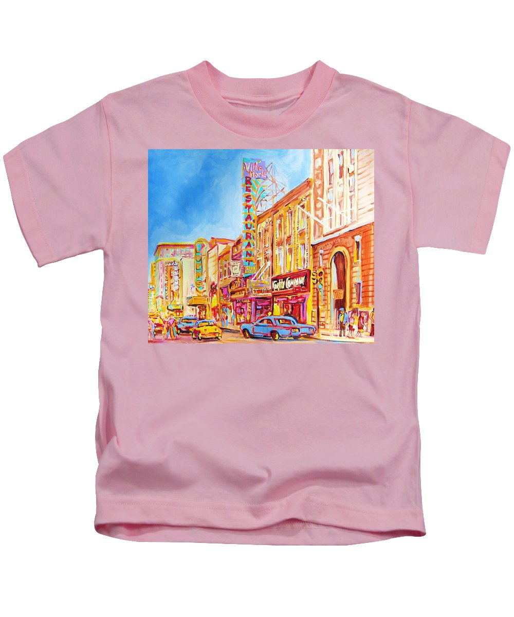 Paintings Of Montreal Kids T-Shirt featuring the painting Saint Catherine Street Montreal by Carole Spandau