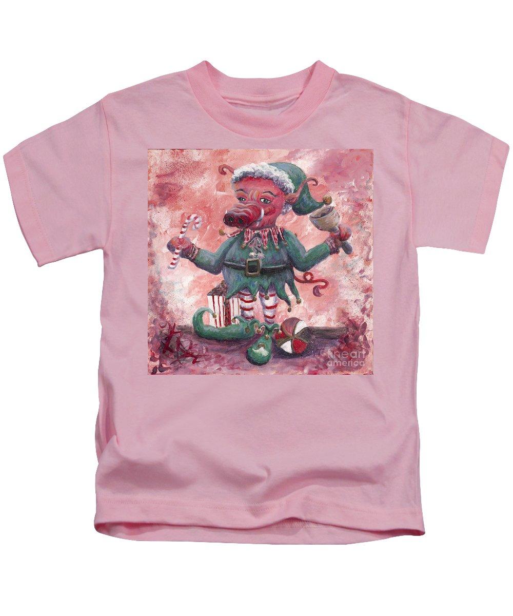 Elf Kids T-Shirt featuring the painting Santa's Littlest Elf Hog by Nadine Rippelmeyer