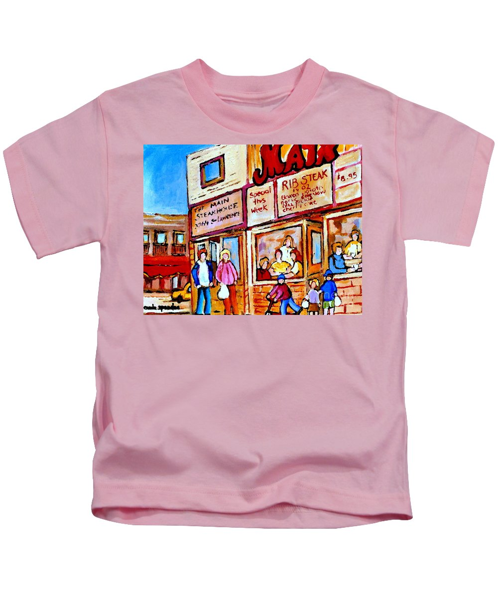 The Main Steakhouse Kids T-Shirt featuring the painting Scooting By The Main Steakhouse Authentic Montreal Paintings Prints Originals Commissions C Spandau by Carole Spandau