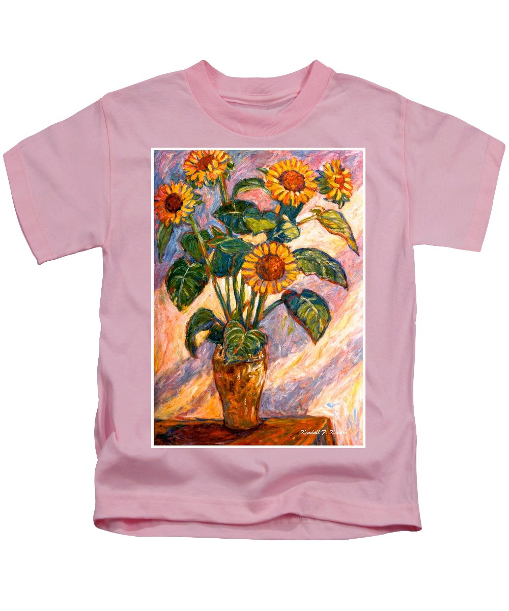 Floral Kids T-Shirt featuring the painting Shadows On Sunflowers by Kendall Kessler