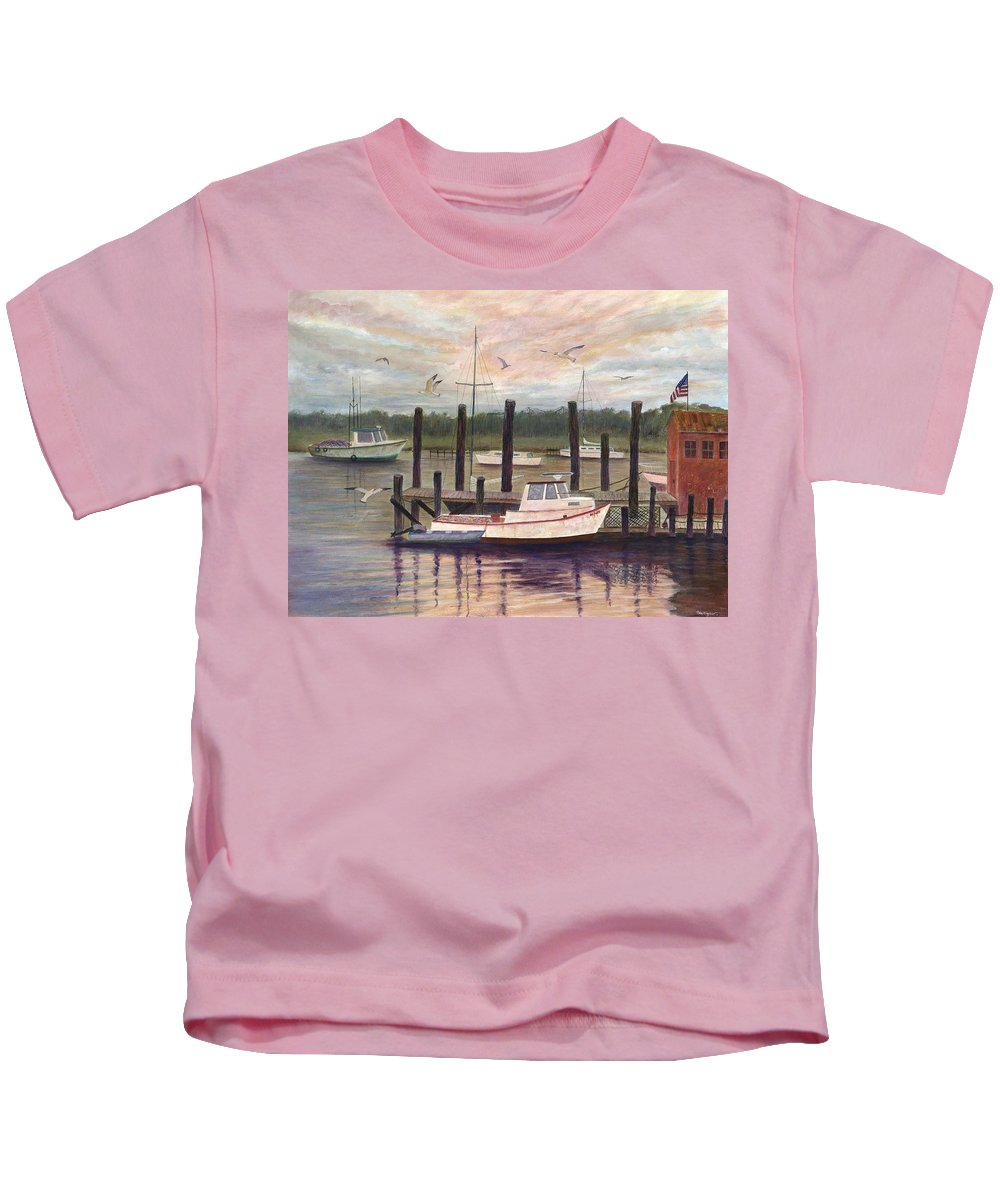 Charleston; Boats; Fishing Dock; Water Kids T-Shirt featuring the painting Shem Creek by Ben Kiger